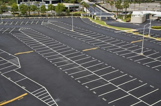 Large parking lot under maintenance in Orlando.