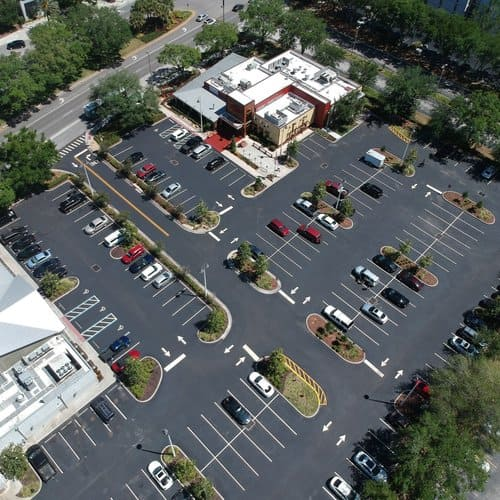 Panoramic view of the finished parking lot at Brick House Tavern in Orlando Florida