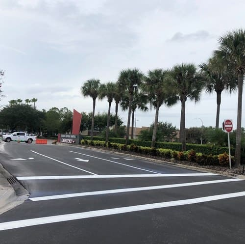 A view of D & C Parking Lot Maintenance's work at Orlando Health