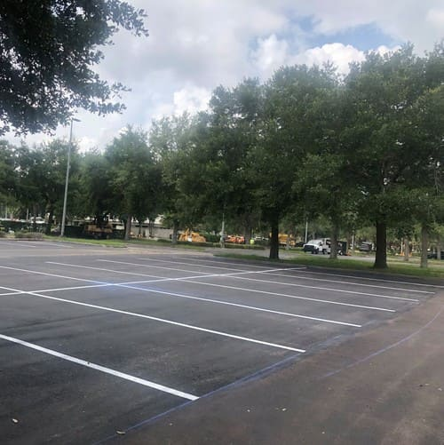 A view of the finished parking lot at Orlando Health